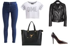 trousers - Miss Selfridge t-shirt - Cayler&Sons bag - Guseppe Zanotti  shoes - Salvatore Ferragamo jacket - Acne Studios
