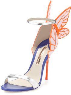 Sophia Webster Chiara Butterfly Wing Ankle-Wrap Sandal, Pink/Silver