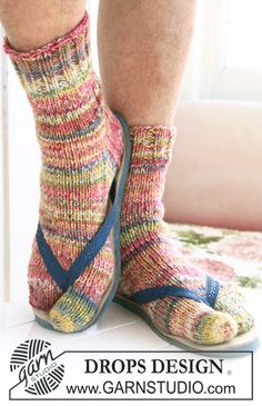 """DROPS socks with big toe in 2 threads """"Fabel"""". Size 32-43.  Free pattern by DROPS Design."""