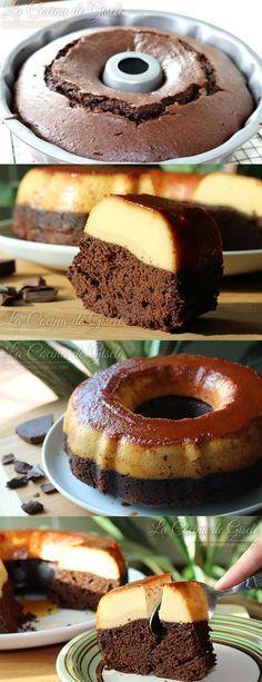 chocoflan, bizcocho, chocolate, flan, quesillo, caramelo, receta