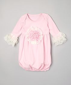 Loving this Pink Rose Ruffle Sleeper - Infant on #zulily! #zulilyfinds