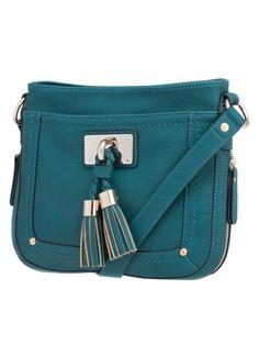 teal tassel crossbody bag