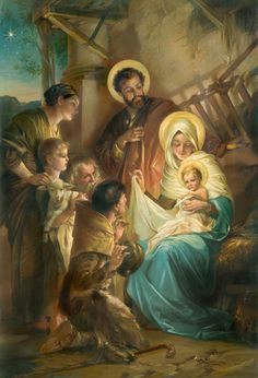 What does the Bible say about St Joseph husband of Mary? Is he called the 'Father of Jesus'? Catholic Art, Religious Art, Vintage Christmas Cards, Christmas Pictures, Jesus Christus, Birth Of Jesus, Baby Jesus, Mary And Jesus, Jesus Pictures