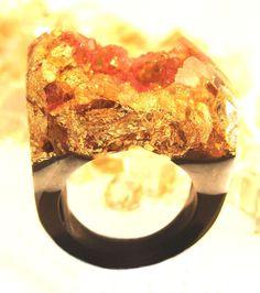 Agate Druzy Resin Ring, Apricot Gold Ring, Spring Rings, Trending Rings, Gold Rings, Faux Druzy Rings, Unique Modern Rings, ResinHeavenUSA by ResinHeavenUSA on Etsy