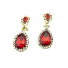Ruby earrings statement earrings red drop earrings crystal by eBijoux, $7.99