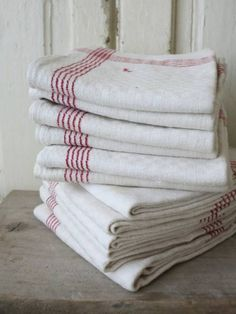 French tea cloths x Red Cottage, French Cottage, Ticking Fabric, Linen Fabric, Jute, Red Geraniums, Cabin Design, Linens And Lace, Vintage Kitchen