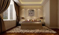 Small Modern Luxury Bedroom Design With Curtains And Carpet