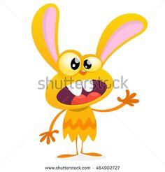 Cute yellow monster rabbit. Halloween vector bunny monster with big ears waving…