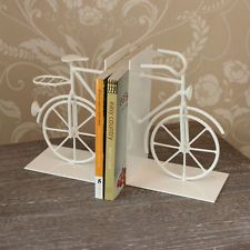 white vintage style bicycle book ends bookends bike gift idea cyclist home decor