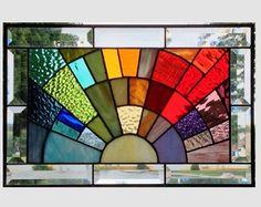 Biseau panneau vitrail suspendu géométrique fenêtre par SGHovel
