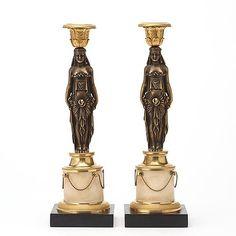 GUSTAVIANSK, A pair of late Gustavian candlesticks, circa 1800.
