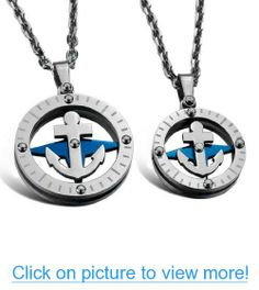 JBlue Jewelry Men,Women's Stainless Steel Pendant Necklace CZ Silver Blue Anchor Ring Love Valentine's Couples His & Hers Set-with 20 and 23 inch Chain (with Gift Bag) Relationship Jewelry, Steampunk Belt, Steampunk Accessories, Love Valentines, Couple Gifts, Fashion Necklace, Pendant Necklace, Chain, Stainless Steel