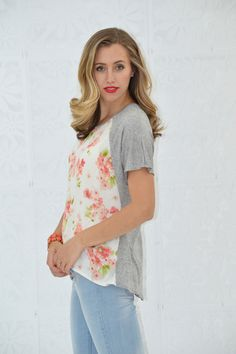 Floral Front Heather Grey Top - My Sisters Closet