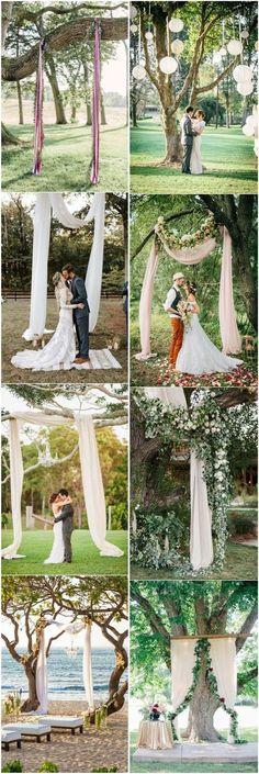 18 Stunning Tree Wedding Backdrop Ideas for Ceremony #wedding #weddingbackdrop #weddingideas