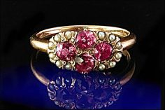 Antique Victorian Pink Sapphire Seed Pearls 14k by EtsyClassic