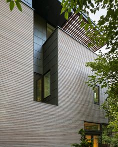 Massachusetts home featuring a facade of ipe wood and zinc.