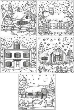 Redwork Winter Cottage Set