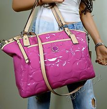 NWT COACH PINK SIGNATURE EMBOSS PATENT LEATHER TOTE BAG CROSSBODY SHOULDER PURSE