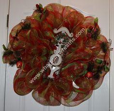 "Christmas ""JOY"" Sleigh Deco Mesh wreath"