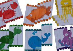 Popsicle Sticks Puzzles Sea Animals por oSidekickso en Etsy