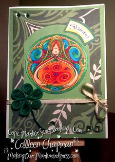 Copics, CMS Digi Stamp and I QUILLED!