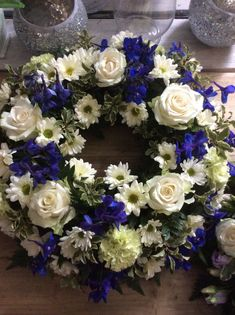 funeral wreath traditional blue and white wreath Flower Wreath Funeral, Funeral Flowers, Funeral Floral Arrangements, Flower Arrangements, Wreaths For Funerals, Funeral Sprays, Cemetery Decorations, Casket Sprays, Funeral Tributes