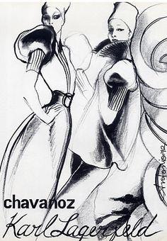 Fashion illustration by Antonio, 1972, Karl Lagerfeld Couture.