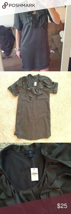 NWT Gap tie neck satin dress medium Gap size medium. NWT. Dark olive satin, fully lined. GAP Dresses
