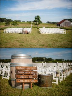 choose a seat not a side sign! Love it for an outdoor wedding this is really simple and pretty