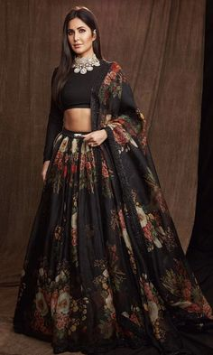 Black Colour Orgenza Silk A Line Lehenga Choli Comes With Matching Taffeta Silk Blouse Fabric. This Lehenga Choli Is Crafted With Printed. This Lehenga Choli Is Semi Stitched and Blouse Comes As a Uns. Indian Lehenga, Black Lehenga, Floral Lehenga, Bridal Lehenga Choli, Sabhyasachi Lehenga, Sabyasachi Sarees, Manish Malhotra Bridal Lehenga, Manish Malhotra Dresses, Manish Malhotra Designs