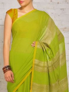 Green Yellow Cotton Khadi Tussar Saree