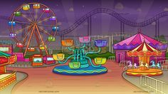 A Pretty Lively Carnival Background: A beautiful carnival with colorful rides like a Ferris Wheel Merry Go Round octopus roller coaster and many more The post A Pretty Lively Carnival Background appeared first on VectorToons.com. #background #clipart #scene #cartoon #vectortoons