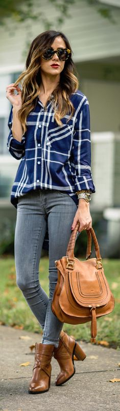 PLAID TOP + COGNAC BOOTIES / Fashion By Sequins And Things