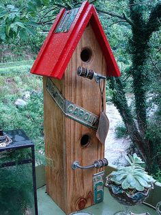 Red Roof Antique Vintage Reclaimed NC Plate Garden Birdhouse Bird House by CURIOSITY.
