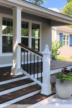 Ranch Home Remodel DIY Front Porch Steps and Railing Redocountryliving.Ranch Home Remodel DIY Front Porch Steps and Railing Redocountryliving Front Porch Railings, Front Porch Steps, Front Porch Design, Front Porch Pergola, Front Entry, Pergola Kits, Front Porch Deck, Front Porch Remodel, Backyard Pergola