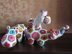 Hippo and Elephant and Giraffe Crochet African Flower Pattern - Crochet Crafts, Crochet Animals