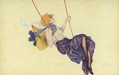 Girl on a Swing Raphael Kirchner