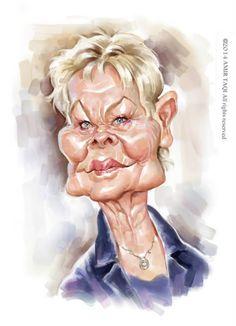 Caricatura de la gran actriz Judi Dench, realizada por el artista Amir Taqi.     Caricatura de Judi...