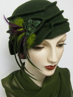 Beautiful 1920's Handblocked Pleated Cloche with ♥ by ThistleCottageStudio, $225.00