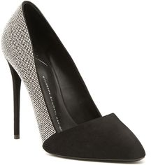 Giuseppe Zanotti - pointed-toe pump with a black suede cap-toe, strass crystals and stiletto heel