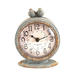 Gray Pewter Mantle Clock with Birds