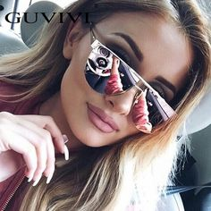 2017 GUVIVI Cat Eye Vintage Mirror Sunglasses Women Brand Designer Lady Rose Gold Mirror Sun Glasses lunette de soleil femme