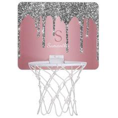 Silver Glitter Drips Rose Gold Pink Monogram Name Mini Basketball Hoop