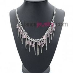 Sweet necklace with chain pendant  decorated pink crystal beads