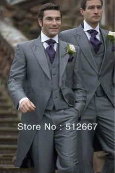 2013 free shipping Classic Design Morning style Peak Lapel Grey Groom Tuxedos Best Man Suits Groomsmen Men Wedding Suits $132.50
