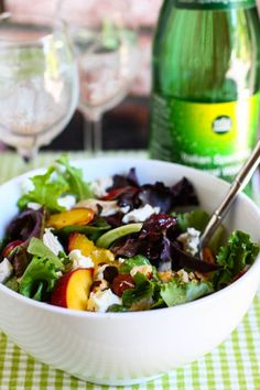 Grilled Peach, Chicken & Goat Cheese Salad with Honey White Balsamic Dressing. yum!!