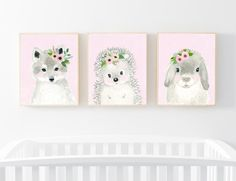Lets make your little ones room warm and enjoyable!  Set of 3: This set includes portraits of a bunny, fox, and hedgehog.  If, however, youd like to swap any of them for a different piece in my shop, please give me a notice about which animals you want to swap it.   Materials: Printed on beautiful high quality, archival and acid free velvet fine art paper using professional Epson Ultra Chrome inks. Prints will be signed and dated on the back by me.  Size: Available in 4 sizes! (5x7, 8x10…