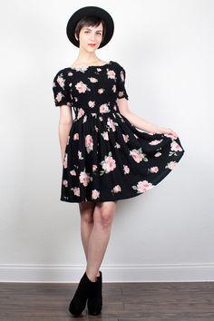 Vintage 90s Dress Black Pink Rose Floral Print Babydoll Dress 1990s Dress  Kawaii Mini Dress Smocked Soft Grunge Dress M Medium L Large dd4366dc2