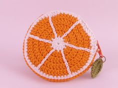 'Orange Slice' crochet coin purse by Tom West of Teapot Magpie, available to order from the Teapot Magpie Etsy shop Crochet Coin Purse, Crochet Purses, Crochet Flowers, Crochet Lace, Crochet Circles, Kids Bags, Crochet Blanket Patterns, Knitted Bags, Crochet For Kids
