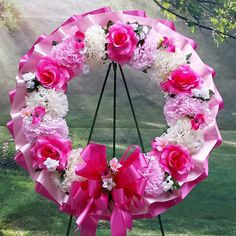16 Pink and Cream Cemetery Wreath Sympathy Wreath